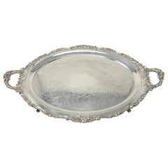 Estate American Silver-Plated Serving Tray with Handles, Circa 1950-1960