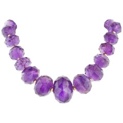 Estate Amethyst Bead Yellow Gold Necklace
