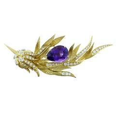 Estate Amethyst Diamond Emerald Gold Hummingbird Brooch