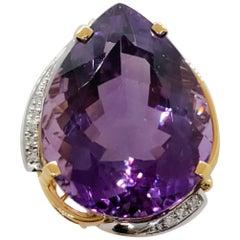 Estate Amethyst Pear Shape and White Diamond Ring in 18 Karat 2-Tone Gold