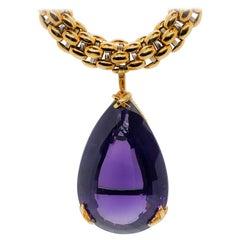 Estate Amethyst Pear Shape Drop Necklace in 18 Karat Yellow Gold