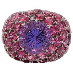 Estate Amethyst Round and Pink Tourmaline Cocktail Ring with White Diamonds