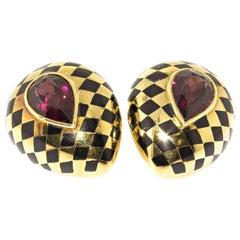 Estate Angela Cummings 18 Karat Gold Pink Tourmaline Inlay Black Jade Earrings