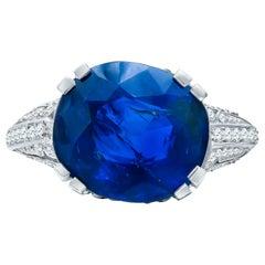 Estate Antique Art Deco GIA Certified 11.91 Carat Burma Sapphire Diamond Ring