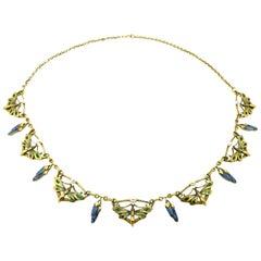 Estate Antique Art Nouveau Style 21 Karat Dragonfly Enamel and Pearl Necklace
