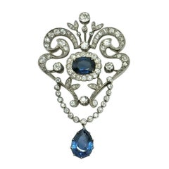 Estate Antique GIA Art Deco 12.86 Old European Diamonds and Sapphire Brooch Pin
