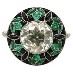 Estate Antique Platinum Art Deco Style 2.26 Carat Diamond, Emerald and Onyx Ring
