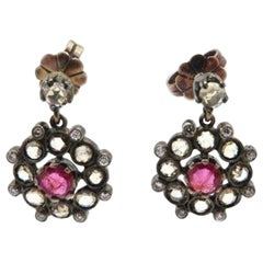 Estate Antique Victorian Style Ruby and Rose Cut Diamond Dangle Flower Earrings
