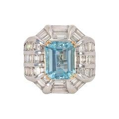 Estate Aquamarine and Baguette Diamond Cocktail Ring in Platinum and Gold
