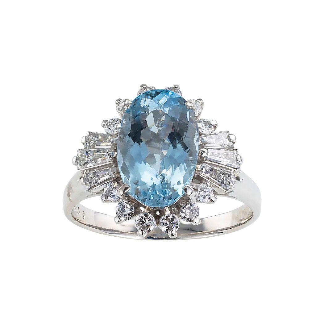 Estate Aquamarine Diamond Platinum Cluster Ring