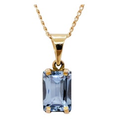 Estate Aquamarine Emerald Cut Pendant Necklace in 14k Yellow Gold