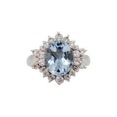 Estate Aquamarine Oval and White Diamond Cocktail Ring in Platinum