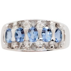 Estate Aquamarine Ovals and White Diamond Cocktail Ring in Platinum