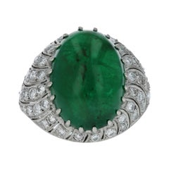 Art Deco Style 12.76 Carat Cabochon Emerald and Diamond Ring
