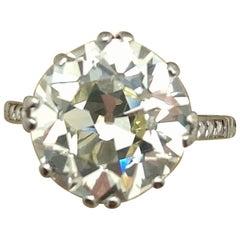 Estate Art Deco 5.03 Carat Old European Cut Diamond Platinum Engagement Ring