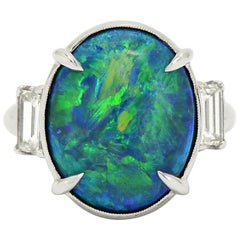Estate Art Deco Black Opal Engagement Ring Platinum Cocktail Ring Three Stone