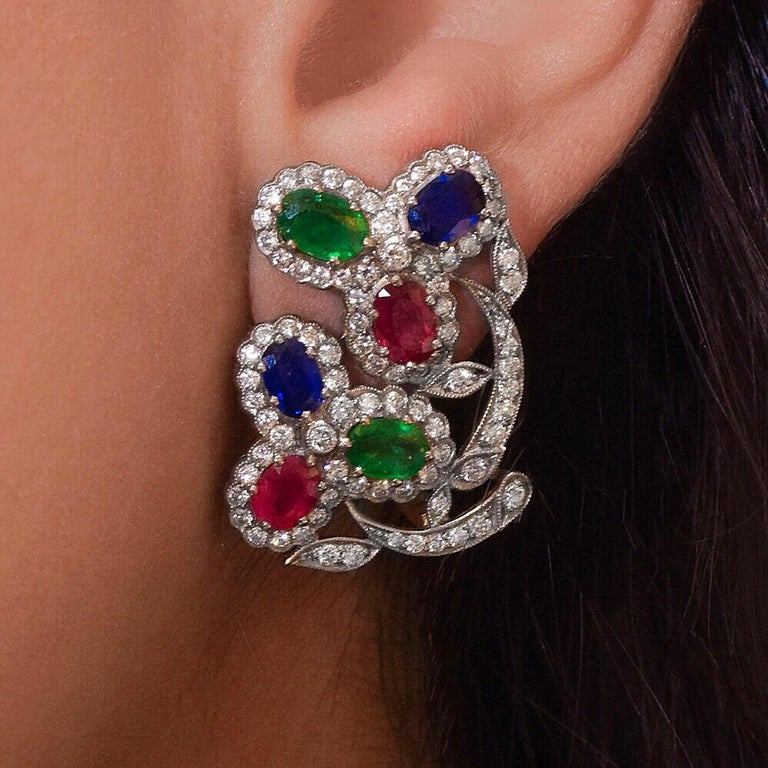 Oval Cut Estate Art Deco Inspired Ruby, Sapphire, Emerald and Diamond Earrings For Sale