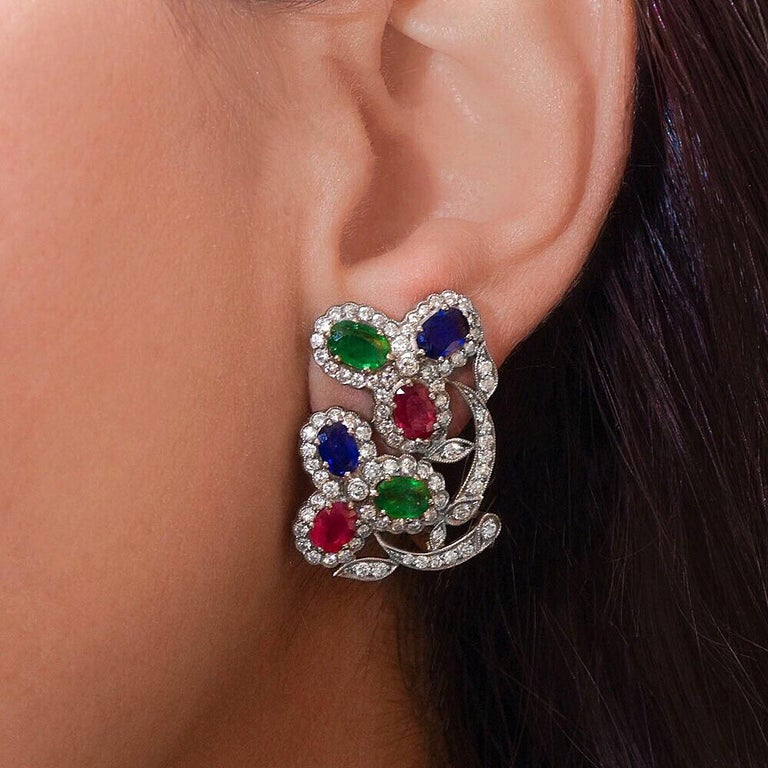 Estate Art Deco Inspired Ruby, Sapphire, Emerald and Diamond Earrings In Excellent Condition For Sale In New York, NY