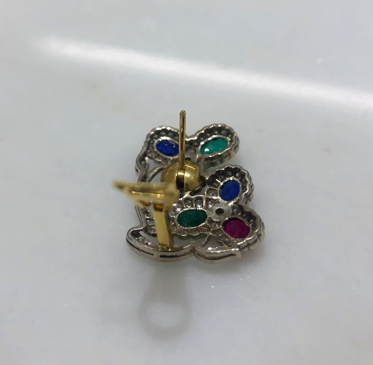 Women's or Men's Estate Art Deco Inspired Ruby, Sapphire, Emerald and Diamond Earrings For Sale
