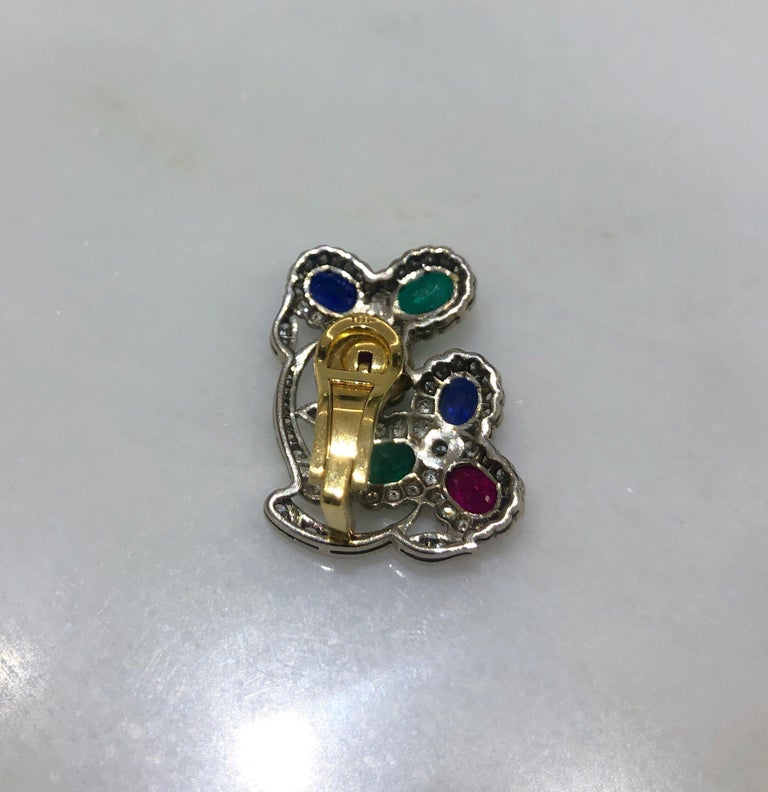 Estate Art Deco Inspired Ruby, Sapphire, Emerald and Diamond Earrings For Sale 1