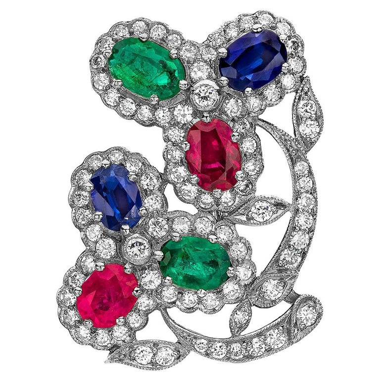 Estate Art Deco Inspired Ruby, Sapphire, Emerald and Diamond Earrings For Sale