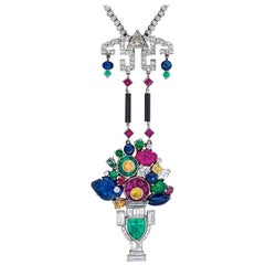 Estate Art Deco Inspired Tutti Frutti, Carved Gemstone and Diamond Necklace