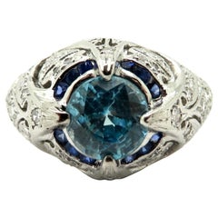 Estate Art Deco Platinum 1.81 Carat Blue Zircon and Diamond Fashion Ring