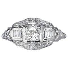 Estate Art Deco Platinum .40 Carat Baguette European Single Cut Diamond Ring