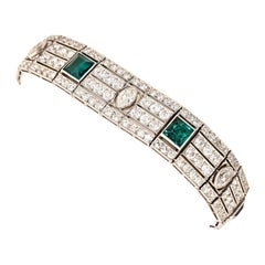 Estate Art Deco Platinum Emerald and Diamond Bracelet, circa 1936