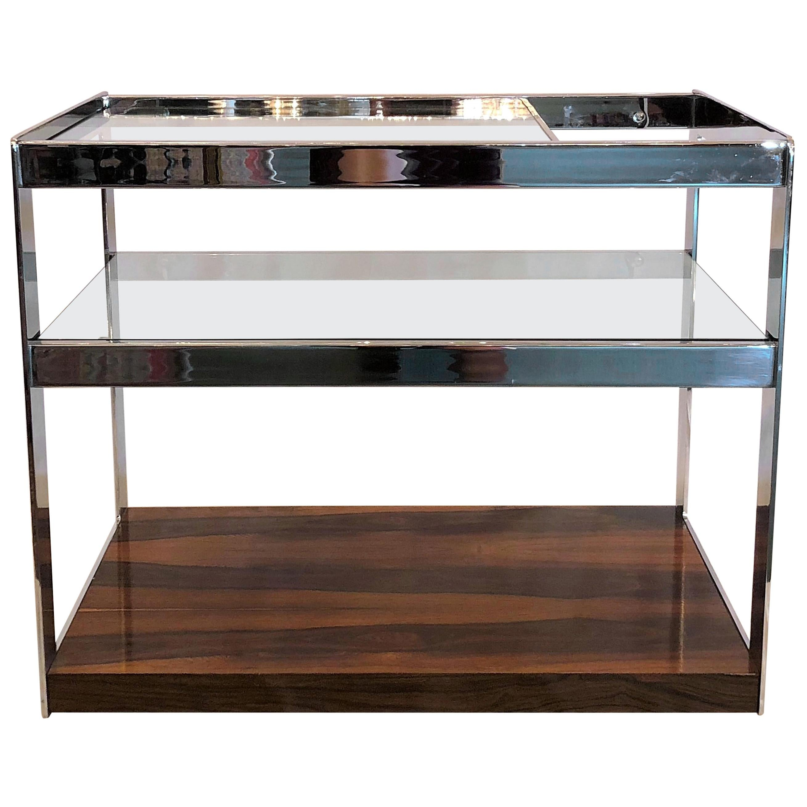 Estate Art Deco Style Chrome, Glass and Black Walnut Drinks Cart on Casters