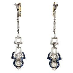 Estate Art Deco Style Diamond and Sapphire Platinum and 18 Karat Dangle Earrings