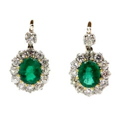 Estate Art Deco Style Oval Emerald and Old Mine Cut Diamond Earrings