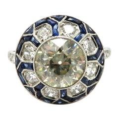 Estate Art Deco Style Platinum 2.21 Old European Cut Diamond and Sapphire Ring