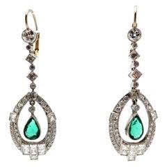 Estate Art Deco Style Platinum and 14 Karat Diamond and Emerald Dangle Earrings