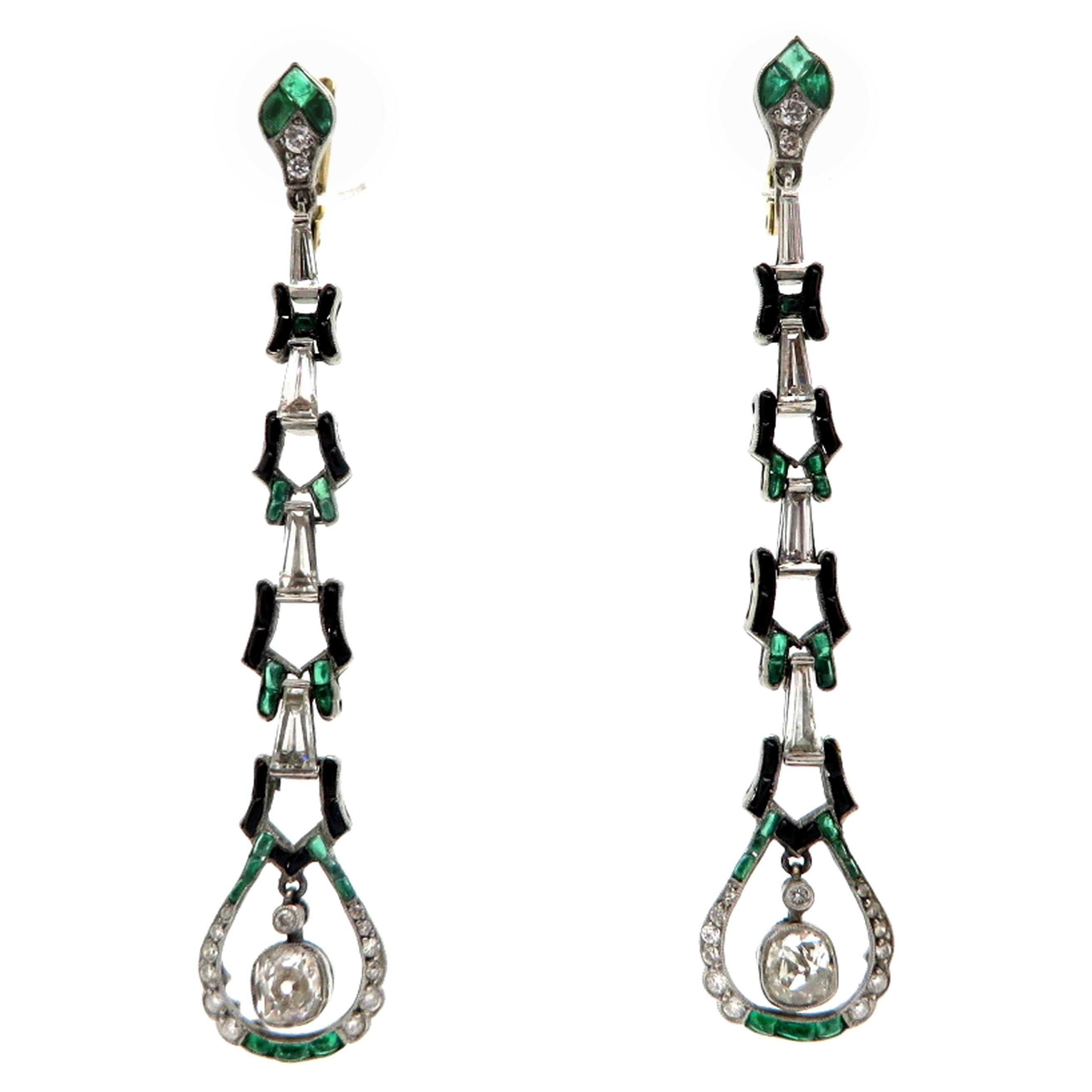 Estate Art Deco Style Platinum and 18K Diamond, Emerald and Onyx Dangle Earrings