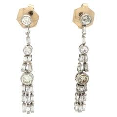 Estate Art Deco Style Platinum and 18K Old European Cut Diamond Dangle Earrings