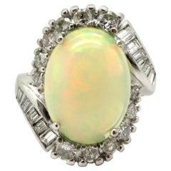 Estate Art Deco Style Platinum Diamond and Opal Fashion Ring