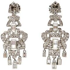 Estate Art Deco Style Platinum Diamond Dangle Multi Shaped Chandelier Earrings