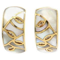 Estate Asher Collection 14 Karat Gold Diamond and Mother of Pearl Hoop Earrings