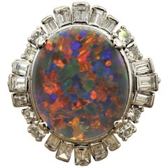Australian Opal Diamond Platinum Ring