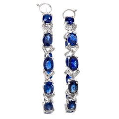 Estate Baguette Diamond and Sapphire Inside Outside Hoop Earrings