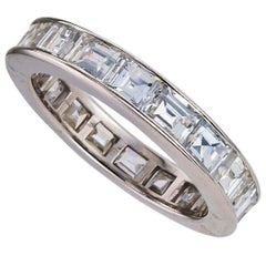 Estate Baguette Diamond Palladium Eternity Ring Size 6
