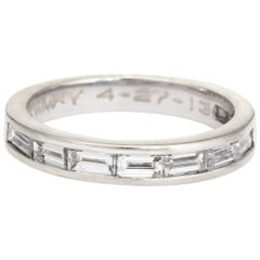 Estate Baguette Diamond Ring Pinky Band 14 Karat White Gold Jewelry