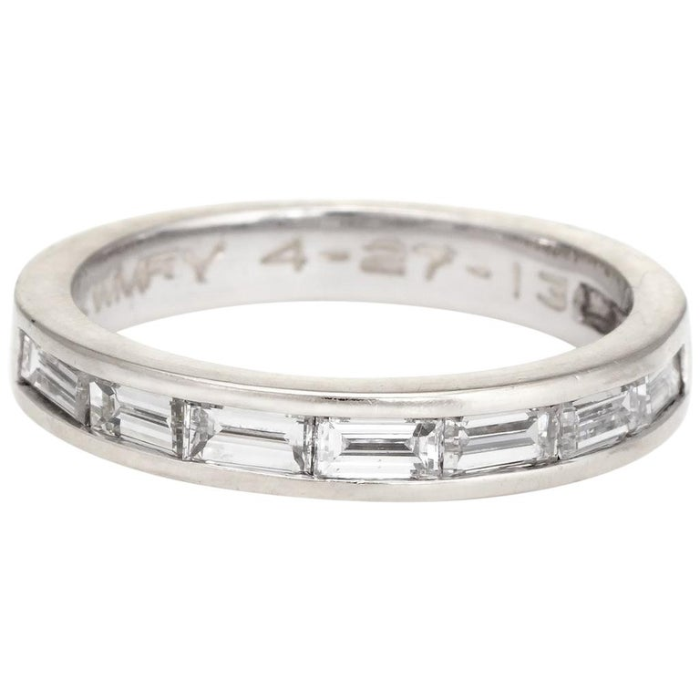 Estate Baguette Diamond Ring Pinky Band 14 Karat White Gold Jewelry For Sale