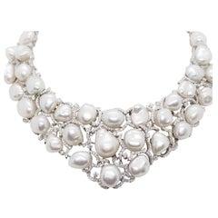 Estate Baroque White Pearl and White Diamond Necklace