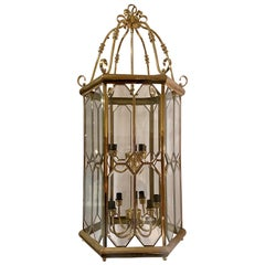 Estate Belgian Architectural Beveled Glass and Brass Double-Tier Hall Lantern