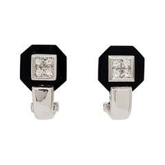 Estate Black Onyx and White Diamond Earrings in 18k White Gold