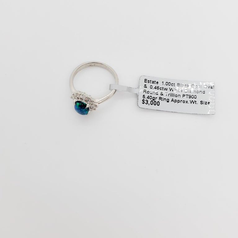 Estate Black Opal Oval and White Diamond Cluster Ring For Sale 1