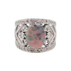 Estate Black Opal Oval and White Diamond Cocktail Ring in 18k White Gold