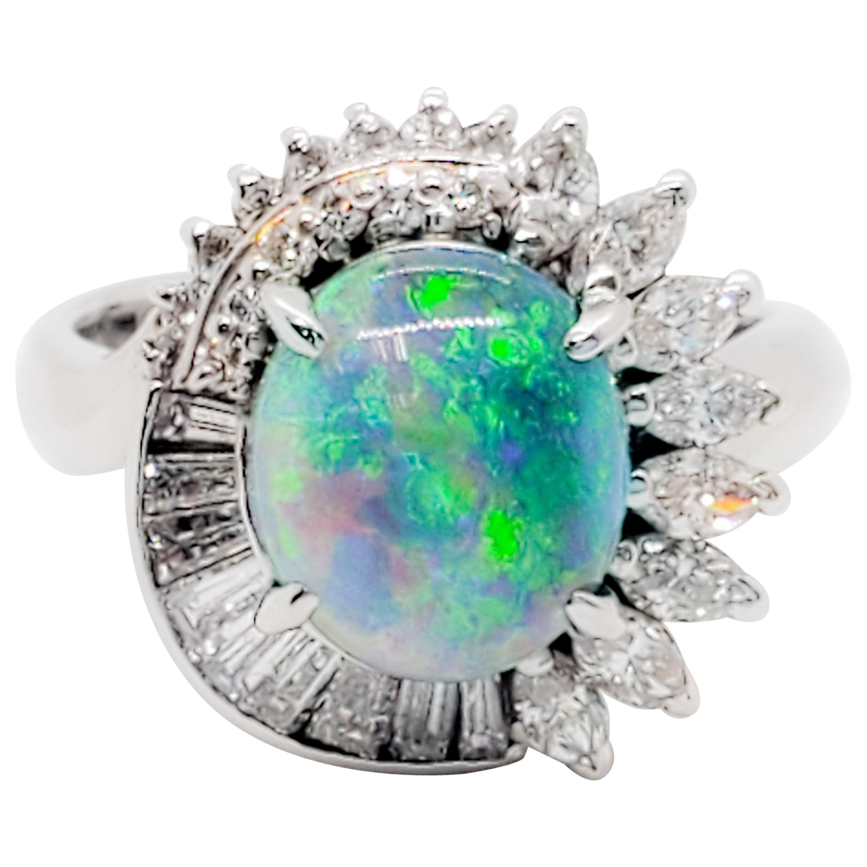 Estate Black Opal Oval Cabochon and White Diamond Cocktail Ring in Platinum